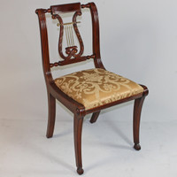 American Empire Duncan Phyfe - 34.5 Inch Handcrafted Reproduction Lyre Back Dining Side | Accent | Desk Chair - Gold Damask Upholstery 010a - Wood Tone Mahagany Luxurie Furniture Finish M