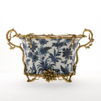 "***Lyvrich Objet d'Art | Handmade Flower Pot, Statement Planter Centerpiece | Blue and White Flora with Soft Gold, | Porcelain with Organic Branch, Twig and Leaf Motif, Gilded Dior Ormolu Trim, | 9.73""t X 16.94""w X 9.65""d 