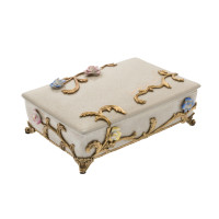 ***Lyvrich Objet d'Art | Trinket, Display Box | Raised Porcelain Flowers and Gilded Dior Ormolu Trim, | 11.82L X 8.08d X 4.14t | 6472