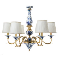"***Lyvrich Objet d'Art | Handmade, 6 Light, Breakfast | Dining Chandelier, | Blue and White Flora with Soft Gold, | Bone China with Gilded Dior Ormolu Trim, | 25.41""t X 28.17""w X 28.17""d 