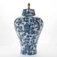"***Lyvrich Objet d'Art   Handmade Covered Jar Centerpiece   Blue on Pale Blue Birdcage Theme,   Porcelain with Gilded Dior Ormolu Trim,   22""t X 13""w X 13""d   6483"