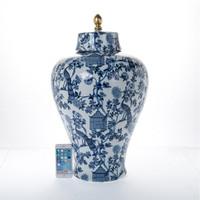 "***Lyvrich Objet d'Art   Handmade Covered Jar Centerpiece   Blue on Pale Blue Birdcage Theme,   Porcelain with Gilded Dior Ormolu Trim,   24.55""t X 15""w X 15""d   6484"