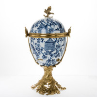 "***Lyvrich Objet d'Art | Handmade Jar, Egg Urn Centerpiece | Blue on Pale Blue Birdcage Theme, | Porcelain with Gilded Dior Ormolu Trim, | 21.75""t X 12.75""w X 10""d 