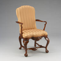 Early Georgian Queen Anne - 40 Inch Handcrafted Reproduction Dining | Accent | Armchair - Striped Upholstery 009a - Wood Tone Luxurie Furniture Finish MLSC
