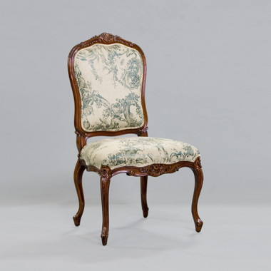 de Pompadour French Rococo Period Louis XV - 44.5 Inch Handcrafted Reproduction Versailles Dining Side | Accent | Desk Chair - Toile Upholstery 069 - Distressed Walnut Wood Luxurie Furniture Finish NWND
