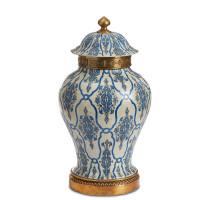 "***Lyvrich Objet d'Art | Handmade Covered Jar, Centerpiece Urn | Blue and White Brocade, | Porcelain with Gilded Dior Ormolu Trim, | 18.5""t X 10.25""w X 10.25""d | 6512"