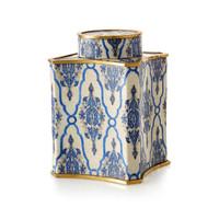"***Lyvrich Objet d'Art | Handmade Covered Jar, Centerpiece Urn | Blue and White Brocade, | Porcelain with Gilded Dior Ormolu Trim, | 11.25""t X 7.75""w X 7.75""d | 6513"