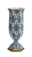 "***Lyvrich Objet d'Art | Handmade Vase, | Blue and White Brocade, | Porcelain with Gilded Dior Ormolu Trim, | Hexagon 19.25""t X 8.25""w X 7.08""d 