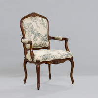 de Pompadour French Rococo Period Louis XV - 44.5 Inch Handcrafted Reproduction Versailles Dining | Accent | Armchair Fauteuil - Toile Upholstery 069 - Distressed Walnut Wood Luxurie Furniture Finish NWND