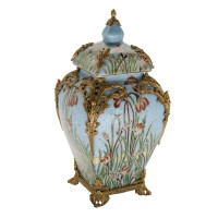 "***Lyvrich Objet d'Art | Handmade Covered Jar, Centerpiece Urn | Unspecified Pattern, | Porcelain with Gilded Dior Ormolu Trim, | 13.99""t X 8.67""w X 8.67""d 