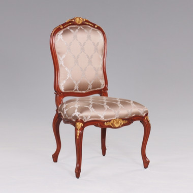 de Pompadour French Rococo Period Louis XV - 44.5 Inch Handcrafted Reproduction Versailles Dining Side   Accent   Desk Chair - Upholstery 070 - Mahogany Luxurie Furniture Finish M with NF11 Gilt Accents