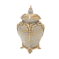 "***Lyvrich Objet d'Art | Handmade Covered Jar, Centerpiece Urn | Crackle Lotus Scroll Arabesque, | Porcelain with Gilded Dior Ormolu Trim, | 13.99""t X 8.67""w X 8.67""d 