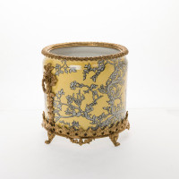 "***Lyvrich Objet d'Art | Handmade Flower Pot, Statement Planter Centerpiece | Abstract Chinoiserie, Gold & Silver, | Porcelain with Gilded Dior Ormolu Trim, | 10""t X 11""w X 11""d 