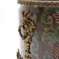 "***Lyvrich Objet d'Art   Handmade Flower Pot, Statement Planter Centerpiece   Undulated Pineapple Theme Pattern,   Porcelain with Gilded Dior Ormolu Trim,   10""t X 11""w X 11""d   6534"
