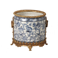 "***Lyvrich Objet d'Art | Handmade Flower Pot, Statement Planter Centerpiece | Blue and White Butterfly Pattern, | Porcelain with Gilded Dior Ormolu Trim, | 10""t X 11""w X 11""d 