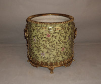 "***Lyvrich Objet d'Art | Handmade Flower Pot, Statement Planter Centerpiece | Pink Flower Climbing Vine, | Porcelain with Gilded Dior Ormolu Trim, | 10""t X 11""w X 11""d 