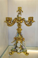 "***Lyvrich Objet d'Art | Handmade Candelabrum | Hand Painted Raised Porcelain Flowers, | Gilded Porcelain with Hand Painted Trim, | 22.75""t X 17.70""w X 17.70""d 