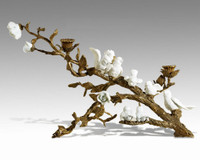 "Lyvrich Objet d'Art | Handmade 2 Light Candelabrum, | White Birds and Flowers, Table Centerpiece, | Dore Ormolu, | 12""t X 18.30""L X 11.41""d 