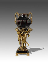 "***Lyvrich Objet d'Art | Handmade Trophy Cup, Centerpiece Vase | Black Ribbed, | Porcelain with Gilded Dior Ormolu Trim, | 19""t X 7.75""w X 6""d 