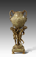 "***Lyvrich Objet d'Art | Handmade Trophy Cup, Centerpiece Vase | Polychrome Ribbed, | Porcelain with Gilded Dior Ormolu Trim, | 19""t X 7.75""w X 6""d 