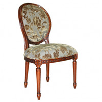 Louis Seize French Neo Classical Period Louis XVI - 40 Inch Handcrafted Reproduction Versailles Dining Side | Accent | Desk Chair - Upholstery 078 - Distressed Walnut Luxurie Furniture Finish NWND