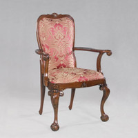 Early Georgian Queen Anne - 42 Inch Handcrafted Reproduction Dining Accent | Armchair - Upholstery 062 - Mahogany Luxurie Furniture Finish M