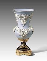 "***Lyvrich | Handmade Fine Porcelain Flowers, Centerpiece Flower Vase, | Porcelain with Gilded Dior Ormolu Trim, | 16""t X 7.75""d X 7.75""d | 6570"