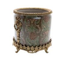 "***Lyvrich Objet d'Art | Handmade Trash Can, Statement Wastebasket | Undulated Pineapple Theme Pattern, | Porcelain with Gilded Dior Ormolu Trim, | 10""t X 11""w X 11""d | 6586"