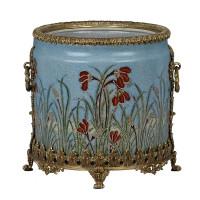 "***Lyvrich Objet d'Art | Handmade Trash Can, Statement Wastebasket | Field of Dreams Pattern, | Porcelain with Gilded Dior Ormolu Trim, | 10""t X 11""w X 11""d | 6587"