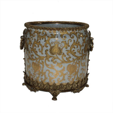 "Lyvrich Objet d'Art | Handmade Trash Can, Statement Wastebasket | Crackle Lotus Scroll Arabesque, Pattern, | Porcelain with Gilded Dior Ormolu Trim, | 10""t X 11""w X 11""d | 6588"