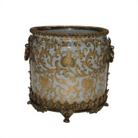 "Lyvrich Objet d'Art | Handmade Trash Can, Statement Wastebasket | Crackle Lotus Scroll Arabesque, Pattern, | Porcelain with Gilded Dior Ormolu Trim, | 10""t X 11""w X 11""d 