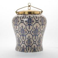 "***Lyvrich   Handmade Ginger Jar, Centerpiece,   Blue and White Brocade,   Ginger Jar, Centerpiece,   Heirloom Quality Porcelain with Gilded Dior Ormolu Trim,   15.75""t X 11.50""w X 11.50""d   6595"