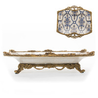 "Lyvrich | Handmade, Collectors Series Cigarette Tray, Cigar Ashtray, Centerpiece, | Blue and White Brocade, | Heirloom Quality Porcelain with Gilded Dior Ormolu Trim, | 2.50""t X 10.25""w X 10.25""d 