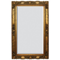 """French Rococo Louis XV Beveled Edge Antique Gold Extra Large Mirror - Scalloped Shell and Floral, 66""""t x 36""""w - Wide 6"""" Carved Frame, 6720"""