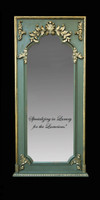 "French Style Louis XIV Painted and Gilt Trumeau, Pier, Floor, Oversize Dressing Mirror - Palace size Mirror - 8't x 3'9""w x 3.5""d - Carved Frame, 6722"