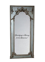 "French Style Louis XIV Painted and Silver Trumeau, Pier, Floor, Oversize Dressing Mirror - Palace size Mirror - 8't x 3'9""w x 3.5""d - Carved Frame, 6724"