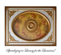 "Architectural Accents Renaissance, 6728 European Putto Theme Rectangular Gilt Ceiling Medallion, 7'11""L X 5'11""w X 3.5"" Thick"