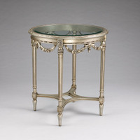 Louis Charles French Neo Classical Period Louis XVI - 27.5 Inch Handcrafted Reproduction Versailles Entry | Round Bevel Glass Center Table - Metallic Silver Luxurie Furniture Finish NF7