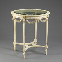 Louis Charles French Neo Classical Period Louis XVI - 27.5 Inch Handcrafted Reproduction Versailles Entry | Round Bevel Glass Center Table - Painted White Luxurie Furniture Finish PWH
