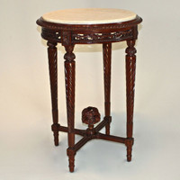 Louis Charles French Neo Classical Period Louis XVI - 31 Inch Handcrafted Reproduction Versailles End | Side | Round Cream Marble Lamp Table - Wood Mahogany Luxurie Furniture Finish M