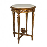 Louis Charles French Neo Classical Period Louis XVI - 31 Inch Handcrafted Reproduction Versailles End | Side | Round Cream Marble Lamp Table - Gold Metallic Luxurie Furniture Finish NF9