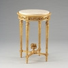 Louis Charles French Neo Classical Period Louis XVI - 31 Inch Handcrafted Reproduction Versailles End   Side   Round Cream Marble Lamp Table - Gold Metallic Luxurie Furniture Finish FGILT