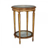Marie Therese Charlotte French Neo Classical Period Louis XVI - 30 Inch Handcrafted Reproduction Versailles End | Side | Round Bevel Glass Lamp Table - Gold Metallic Luxurie Furniture Finish NF9
