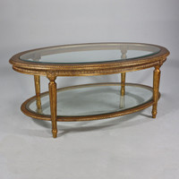 Marie Therese Charlotte French Neo Classical Period Louis XVI - 47 Inch Handcrafted Reproduction Versailles Cocktail | Oval Bevel Glass Coffee Table - Gold Metallic Luxurie Furniture Finish NF9