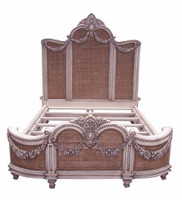 A Custom Decorator - Hardwood Hand Carved and Cane Guirlande de Butin - Neo Classical 77 Inch King Size Bed - Painted or Wood Stain Finish