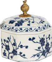 Luxe Life Classic Blue and White Cherry Blossom Pattern, Finely Finished Porcelain and Gilt Bronze Ormolu, 8 Inch Round Covered Box