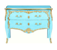 Luxe Life Louis XV - 47 Inch Handcrafted Rococo Reproduction Bombe Chest- Painted Turquoise Finish with Gilt Bronze Ormolu Mounts