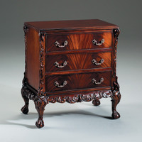 Chippendale English Bedroom - 30.25 Inch Handcrafted Reproduction Bachelor Chest - Mahogany Luxurie Furniture Finish M