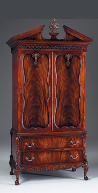 Chippendale English Bedroom - 84.5 Inch Handcrafted Reproduction Armoire - Mahogany Luxurie Furniture Finish M