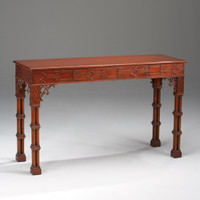 Chinese Chippendale - 54 Inch Handcrafted Reproduction Entry Table | Carved Console | Sofa Table - Mahogany Luxurie Furniture Finish M